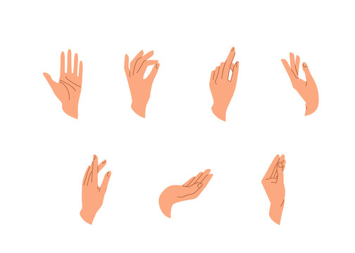 Hands vector set in simple flat trendy style isolated on a white background. Various gestures, poses of human hand in different situation. Vector illustration