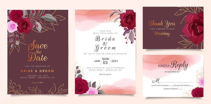 Maroon wedding invitation card template set with burgundy and peach rose flowers and watercolor background. Cards with floral, gold line, and glitter for save the date, invitation, greeting card