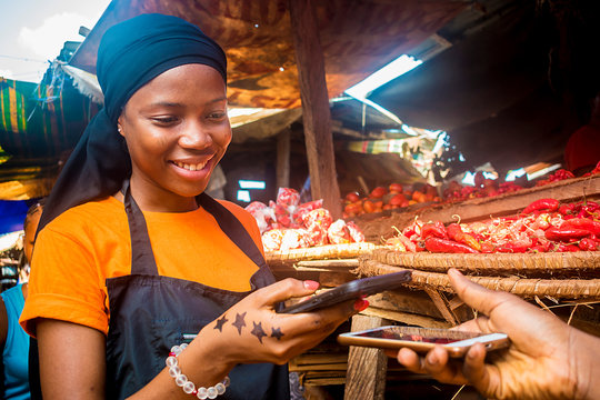 young african woman selling tomatoes in a local african market receiving payment via mobile phone transfer