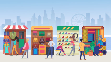 Street clothing market flat vector illustration. People buying apparel and accessories at outdoor marketplace in modern city. Vendors and customers. Salesmen at stands. Megapolis view background Papier Peint