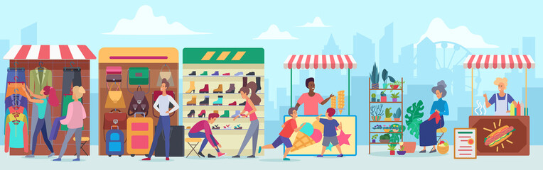 Street clothing and food market flat vector illustration. Cartoon characters buying apparel and accessories at sidewalk marketplace in megapolis. Cheerful vendors at stands. Cityscape background