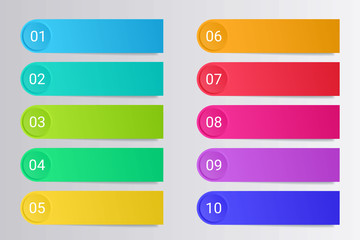 Colorful bullet points with paper stickers and copy space isolated on grey background.