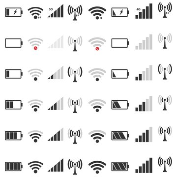 wifi signal icon set,  battery energy charge, mobile signal level icon  Vector Illustration