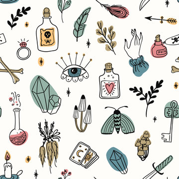 Hand drawn magic seamless pattern, witchcraft vector doodle colored symbols. Mystery and alchemy tools collection: eye, crystal, roots, potion, feather, mushrooms, candle, key, bones