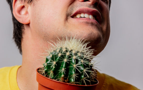 man hold cactus near face