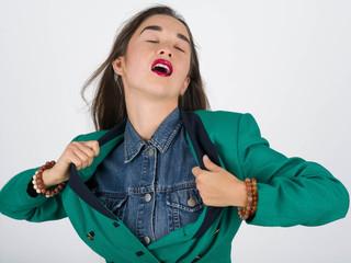 woman headshot green jacket
