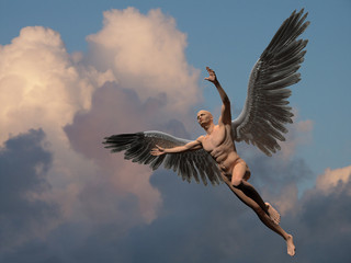 Naked man with white wings in cloudy sky symbolizes angel.