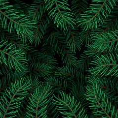 Printed roller blinds Tropical Leaves Detailed Christmas tree background with lush pine branches