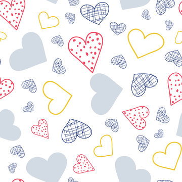 Whimsical Hearts in Blue Red and Yellow, seamless repeat vector pattern, valentines or 4th of July, surface pattern design