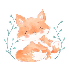 Cute watercolor foxes. Mother and baby