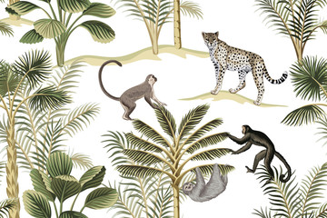 Tropikalny vintage botaniczny krajobraz, zielone palmy, lenistwo, małpa i lampart kwiatowy wzór bezszwowe białe tło. Tapeta egzotycznej dżungli. - 311094955