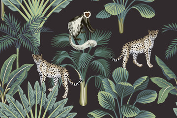 Tropical vintage monkey, leopards, palm trees, banana tree floral seamless pattern dark background. Exotic jungle wallpaper.