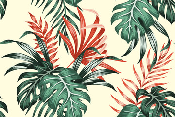 Tropical vintage red, green palm leaves floral seamless pattern yellow background. Exotic jungle wallpaper.