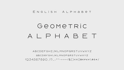 Minimal style alphabet. Modern abstract vector typeface, uppercase and lowercase letters, numbers, symbols and marks. Black thin lines font typography