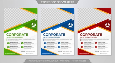 set of business flyer template design with abstract concept and minimalist layout