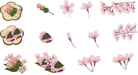 桜の花と桜餅と三色串団子のセットイラスト素材