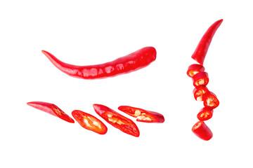 Fototapeta piece red  chili pepper sliced  fly on white isolated obraz