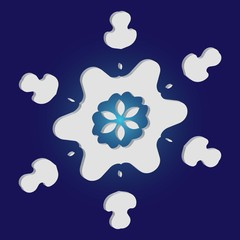 Simple, beautiful snowflake on blue background.