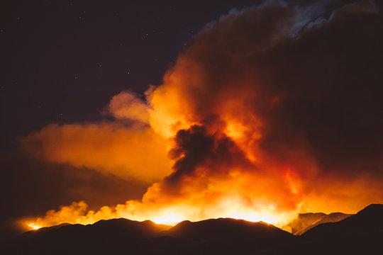 California wildfire burning at night