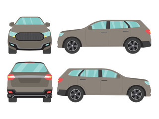 Papiers peints Cartoon voitures Set of gray suv car view on white background,illustration vector,Side, front, back