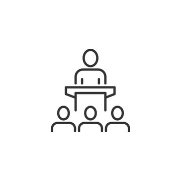 People on podium icon in flat style. Speaker vector illustration on white isolated background. Audience orator business concept.