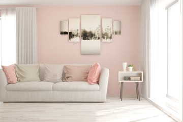 Stylish room in pink color with sofa. Scandinavian interior design. 3D illustration