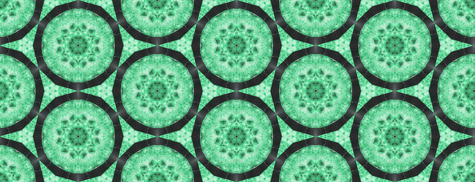 Seamless oriental classic mint green pattern. Round Ornament Pattern on emerald. Best for greeting card, invitation or banner
