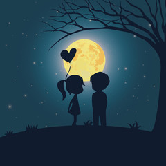 Cute kids couple romantic silhouette with full moon in the night cartoon vector illustration