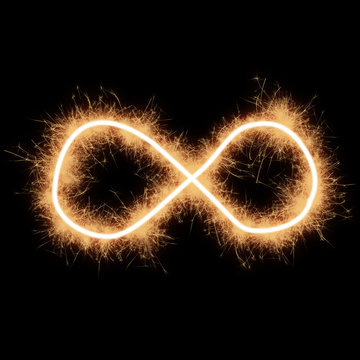 Symbol of lemniscate made with sparks on a black background..