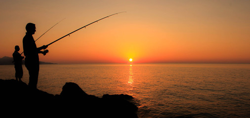 Poster Peche fishing at sunset