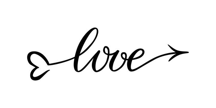 The word love hand-drawn lettering love in the form of an arrow. Vector lettering typography word love with heart and arrow