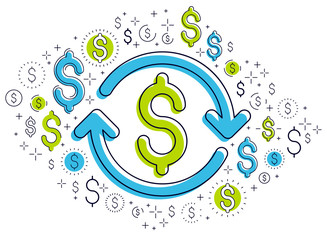 Dollar sign and loop arrow, currency exchange, return on investment, insurance concept, refund, stock market, refinance, vector design.