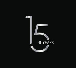 15 Years silver anniversary celebration simple logo, isolated on dark background