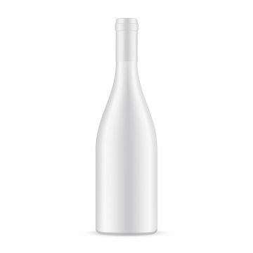 Blank ceramic wine bottle mockup isolated on white background. Vector illustration