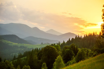 Foto auf Acrylglas Gelb Schwefelsäure Beautiful sunset in Carpathian mountains