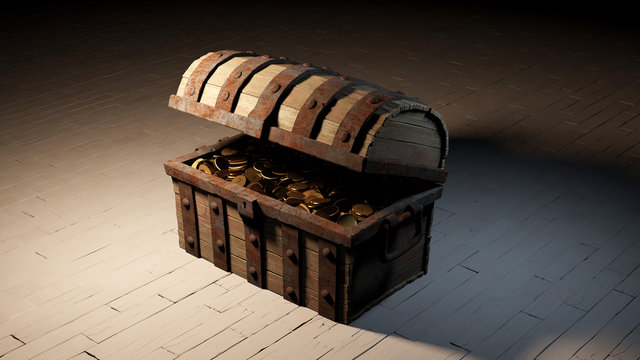 One old wood with rusty metal empty Chest almost open and full of Gold Coins put on a white wood floor