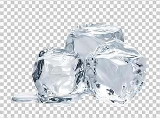 Melting ice cube isolated on checkered background including clipping path	 Wall mural