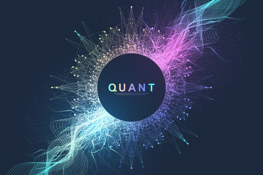 Abstract fiction vector illustration quantum computer technology. Sphere explosion background. Deep learning artificial intelligence. Big data visualization algorithms. Waves flow. Quantum explosion.