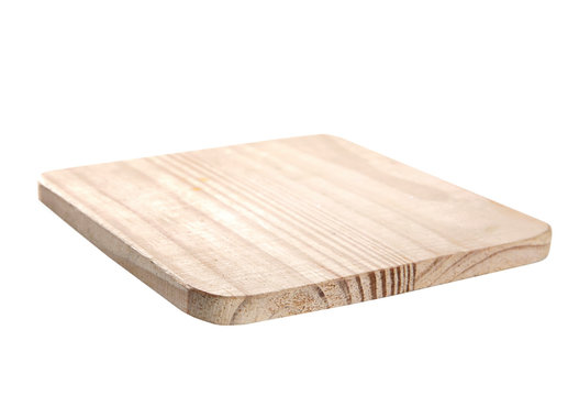 Wooden empty square platter,cooking dish isolated on white.