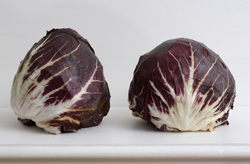 two heads of red cabbage