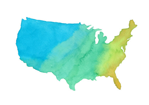 watercolor of United States of America map, illustration