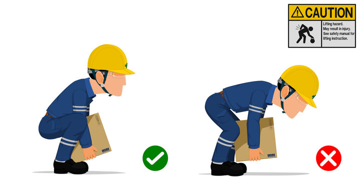 Set of worker is lifting the carton with the right and wrong method.