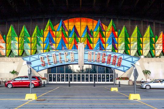 Niagara Falls, New York, USA - September 2, 2019: Entrance of Seneca Niagara Casino & Hotel in Niagara Falls, New York, USA owned by the Seneca Nation of Indians.