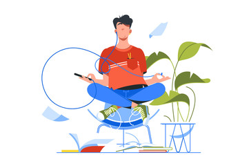 Tuinposter Ontspanning Young handsome man meditating using smartphone for yoga training.