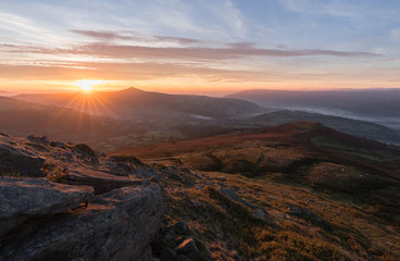 Sugarloaf mountain and table mountain in Brecon Beacons.