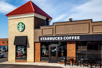 St. Catharines, Ontario,  Canada - September 19, 2019:  A Starbucks coffee store in St. Catharines. Starbucks Corporation is an American coffee company and coffeehouse chain.