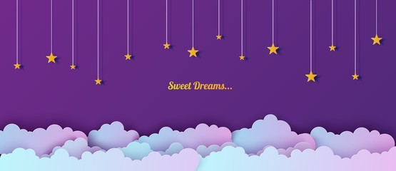 Night sky in paper cut style. Cut out 3d background with violet and blue gradient cloudy landscape with stars papercut art. Cute origami clouds. Vector card for wish good night sweet dreams.