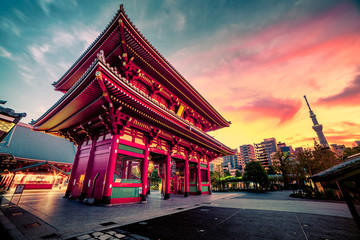 Morning Glory Sensoju Temple with dramatic sky and Tokyo skytree in Japanese