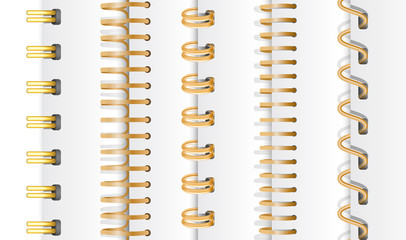 Set of gold vertical spirals for notebooks and calendars. Spiral bindings for sheets of paper. Isolated on white background, vector illustration.