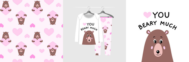 Wall Mural - Seamless pattern and illustration for kid with funny bear, I love you beary much